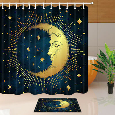 Sun and moon totem Shower Curtain Bathroom Decor Fabric /& 12hooks 71x71in