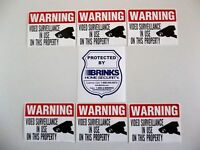Brinks Adt Home Security System Warning Sticker+camera Decal Signs