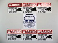 Brinks Adt Home Security Alarm System Warning Sticker+cctv Camera Decal Signs