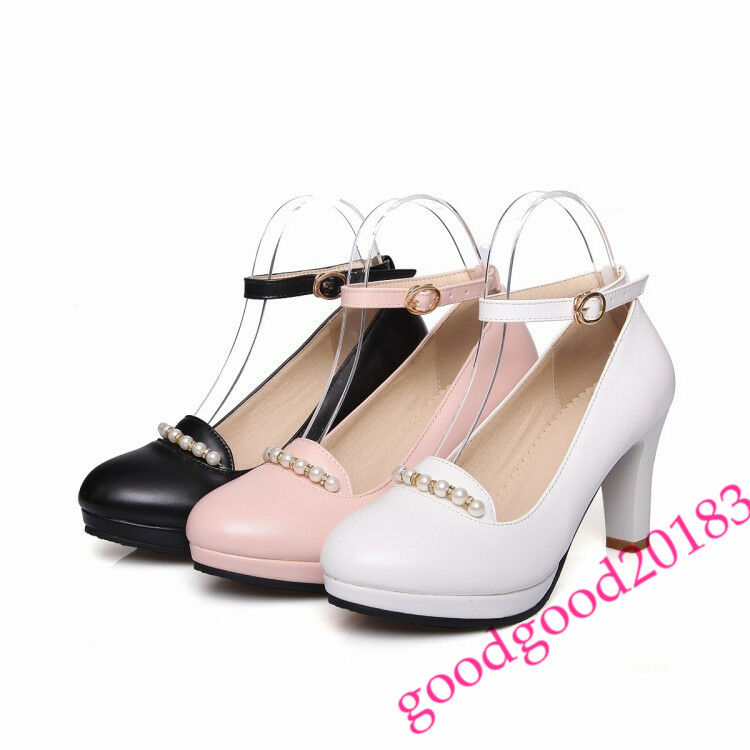 Womens Mary Jane High heels Pumps Ankle Strap OL Dress shoes Leisure Vogue Size