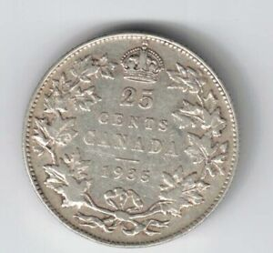 CANADA-1935-TWENTY-FIVE-CENTS-QUARTER-KING-GEORGE-V-800-SILVER-COIN
