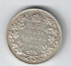 CANADA-1935-TWENTY-FIVE-CENTS-QUARTER-KING-GEORGE-V-800-SILVER-COIN