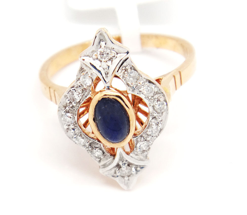 Russian Style 14k Two-Tone gold 0.28tcw Oval Sapphire & Diamonds Ring Size 6.5