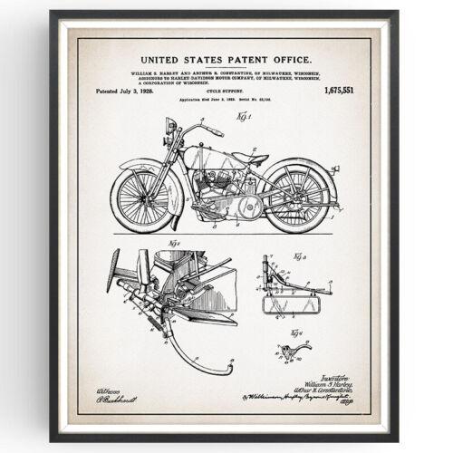 Harley Davidson ciclo plan de impresión de patente de soporte Poster Vintage Regalo de pared