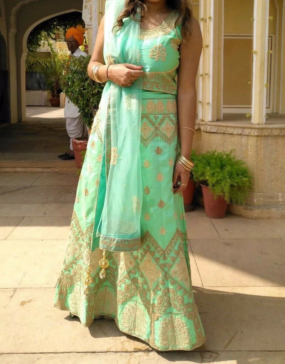 Indian Lengha Choli - Mint Green And gold, Heavily Embellished - Asian Occassion