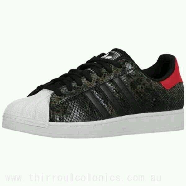 Adidas Superstar II 2  Snake Skin Men Shoes black/red/white size 10.5 us