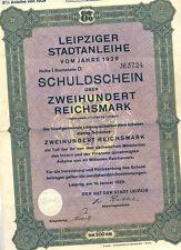 Leipzig Sachsen Stadt Schuldschein bond 200 RM 1929 uncancelled with coupons