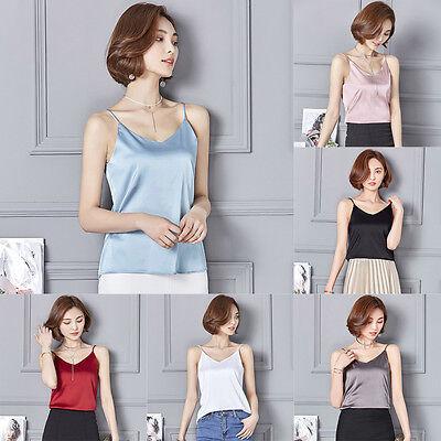 Women Satin Silk Cami Strappy T-shirt Ladies V Neck Sleeveless Top Tee Vest Tank