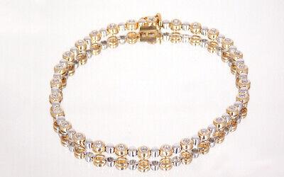 Tennisarmband Mit Ca 0,50 Ct Brillanten W / Si In 585 / 14k Gelbgold - Weißgold Exquisite Traditionelle Stickkunst
