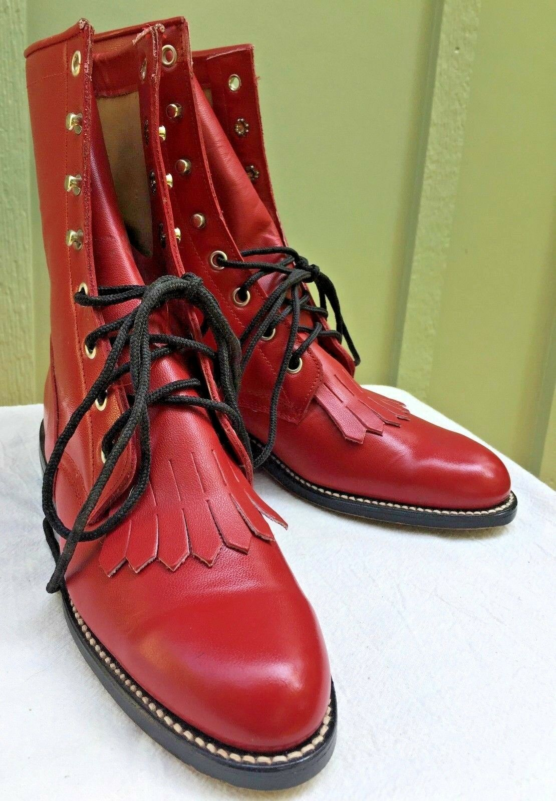Womens Diamond J  boots Red 5 .5 B Justin Lace up Unworn Leather Dancing Western