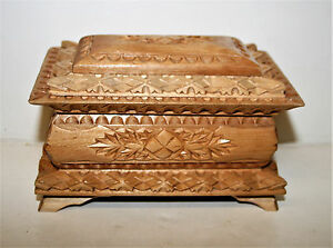 Vintage Scandinavian Hand Carved Jewellery Trinket Box Chest Handmade 6.5in Long