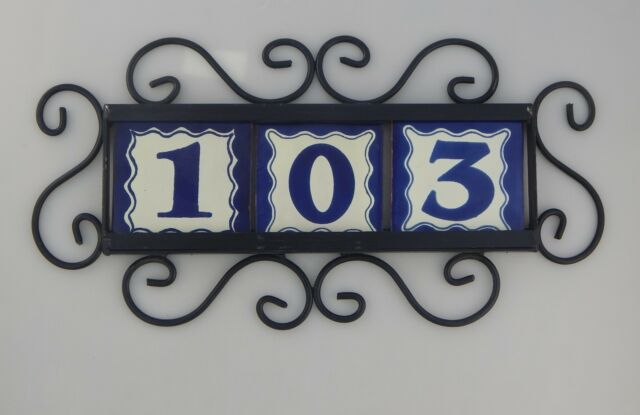 4 BLUE Mexican Ceramic Number Tiles /& Horizontal Iron Frame