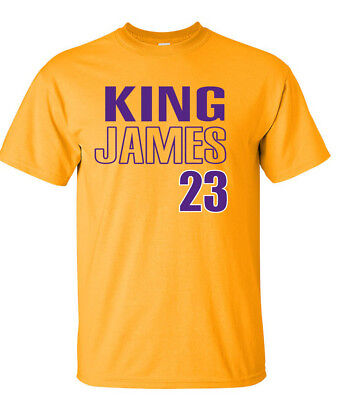 "GOLD Lebron James Los Angeles Lakers /""King James Silhouette/"" HOODED SWEATSHIRT"