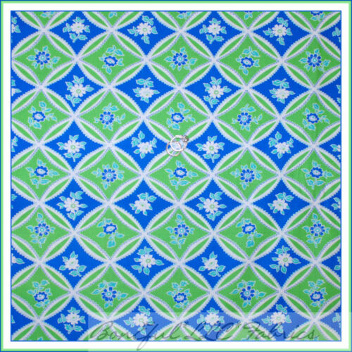 BonEful Fabric FQ Cotton Quilt Blue White Green Paganelli Flower Leaf Dot Calico