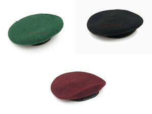 New-Black-Maroon-Green-Beret-100-Wool-Leather-Banded-All-sizes-British-army
