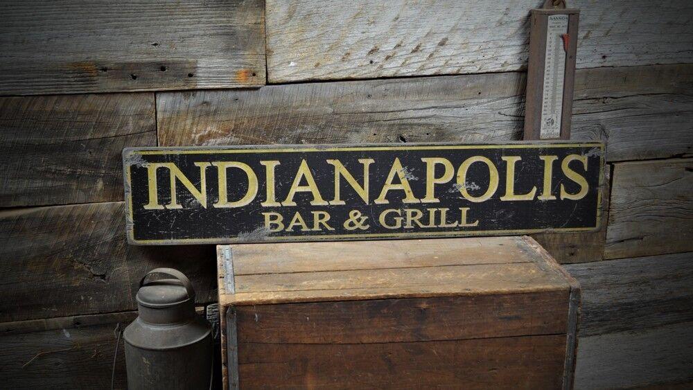 Custom Custom Custom City Bar & Grill Sign - Rustic Hand Made Vintage Wooden Sign ENS1000419 be2419