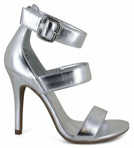 NEW-WOMENS-shoes-sandals-heels-SILVER-ankle-strap-BUCKLE-12-13