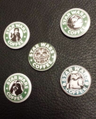 Lot of 5 Badges Buttons Pins 25mm 1/'/' ** Star Wars Coffee
