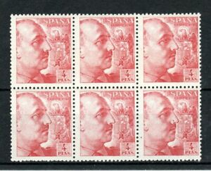 Spain-1949-4-PTAS-without-imprint-MNH-block-of-6