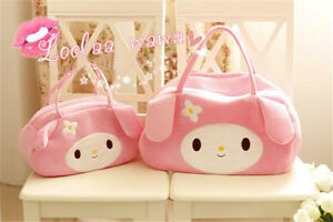 Kawaii-My-Melody-Kitty-Women-039-S-Handbag-Plush-Cute-Zip-Bag-Gift-Pink-2-Sizes