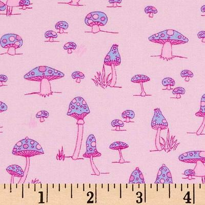 1YD Woodland Wonderland MUSHROOMS TOADSTOOLS Pink J McCarroll Free Spirit Fabric
