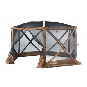 Clam-Quick-Set-Escape-Sky-Screen-Portable-Camping-Outdoor-Gazebo-Shelter-Brown