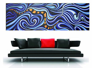 150cm-x-50cm-ART-PAINTING-PRINT-snake-serpent-dreaming-ABORIGINAL-blue-canvas