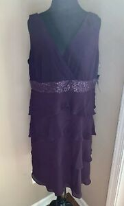 New-With-Tags-Chaps-Size-16-Formal-Dress-Purple-Short-Retail-110-Sequins-Layers