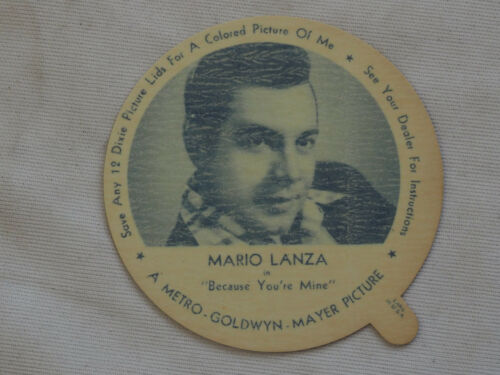 1952 DIXIE CUP NELSON'S Ice Cream MARIO LANZA TV Movie Star NM