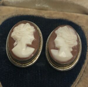 Vintage-800-Silver-Earrings-Cameo-Face-Antique