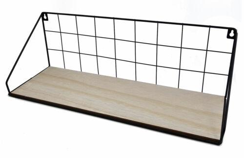 Metall Hängeregal Bad Regal Küchenregal Gitter Wandregal 45 cm mit Holz Ablage