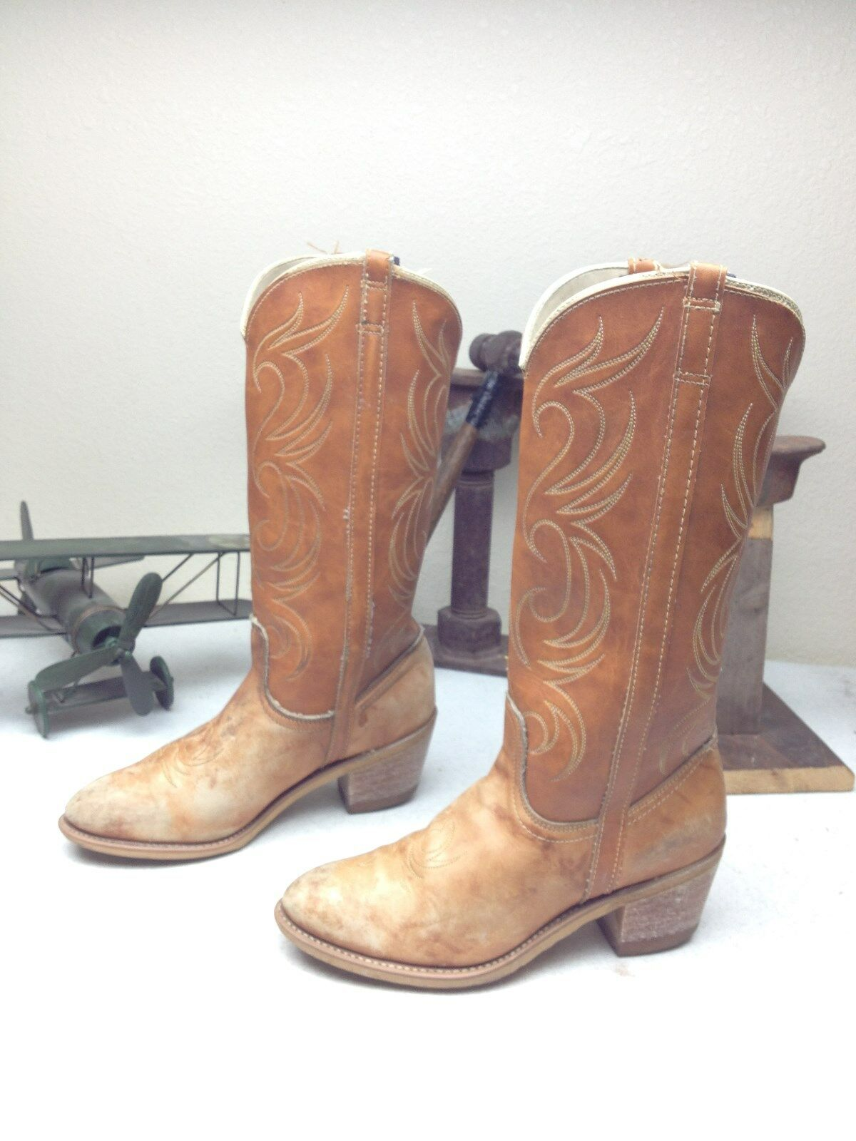 VINTAGEMADE IN USA  DISTRESSED DINGO BROWN LEATHER M WESTERN COWBOY Stiefel 7 M LEATHER c559ef