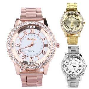 Fashion-Women-039-s-Bracelet-Stainless-Steel-Crystal-Dial-Analog-Quartz-Wrist-Watch