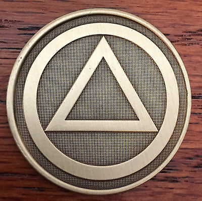 Set of 5 Circle Triangle Serenity Prayer Bronze Recovery Medallion Coin Chip AA