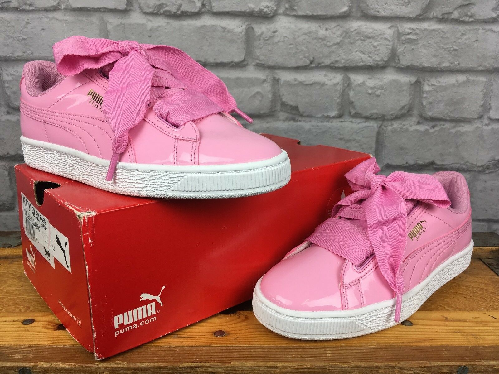 PUMA LUK 5 EU 38 PRISM rose PATENT BASKET HEART TRAINERS GIRLS CH-ILDREN LADIES