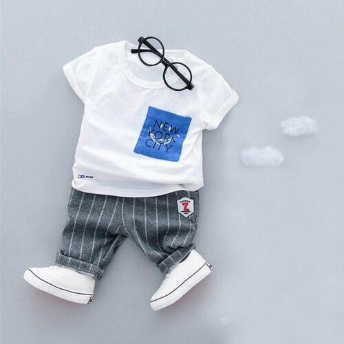 2Pcs Toddler Kids Baby Boys Shirt Print Tops T shirt+Shorts Pants Outfits Set