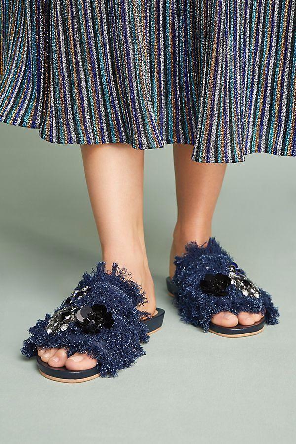 Bill Blass Embroidered Denim Slide Sandals-7- MSRP