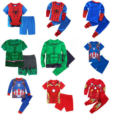 2PCS//SET Kids Boy Captain America Casual Sleepwear Pyjamas Matching Outwear 1-8Y