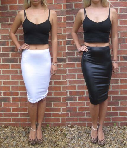 EXTRA LONG TALL Jersey Pencil Skirt Wetlook MIDI Knee Length 8 10 12 14 16 18