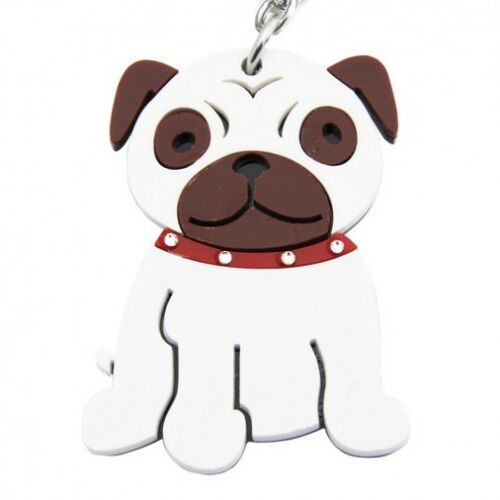 Pug Acrylic Key Chain with Bling Collar NEW FAST SHIPPING Stocking Stuffer