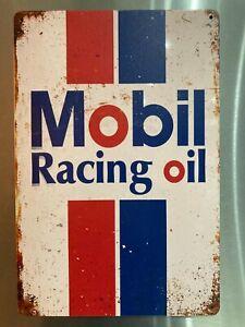 Retro Sign Motor Beer Garage Cave Bar Cafe Shed 30cm x 20cm MOBIL RACING OIL