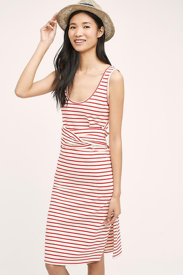 Anthropologie Striped Tank Dress NWT new M red