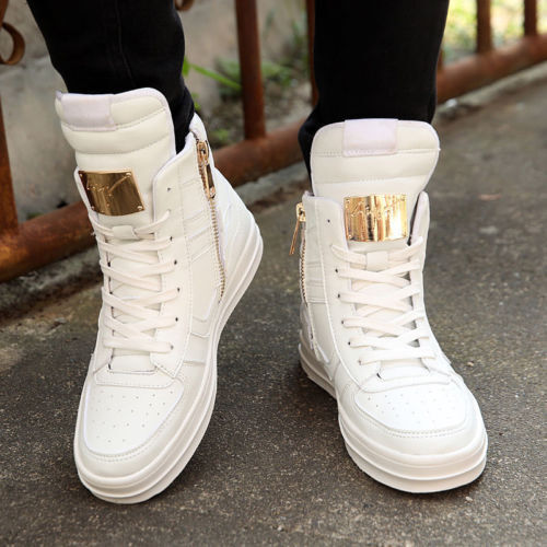 b044637c Fashion Men's High Top Sneakers Ankle Boots Lace Up Skateboard Casual Shoes