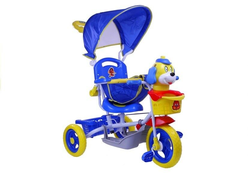 Kinderdreirad Kinderrad Fahhrad Dreirad Hündchen Lenkstange Spielzeug blau neu