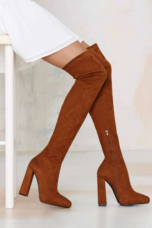 NEW JEFFREY CAMPBELL SUEDE ISOLATE OVER THE KNEE BOOTS HEELS Schuhe SZ 7.5