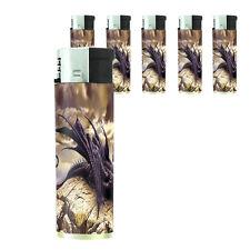 Butane Refillable Electronic Lighter Set of 5 Dragon Design-007 Custom Legends