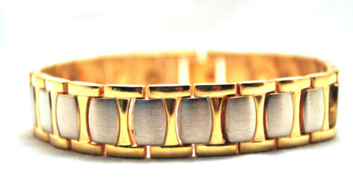HANDSOME MENS 8.25 IN SILVER /& GOLD HEALING MAGNETIC LINK BRACELET FOR PAIN!