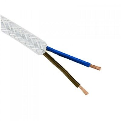 1MM SY FLEX CABLE 2 CORE BRAIDED CABLE SOLD PER METRE,10M,25M,50M OR 100M