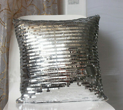 Bling Silver Shiny Glittering Scaly Sequins Pillow Case Sofa Cushion Cover 16""