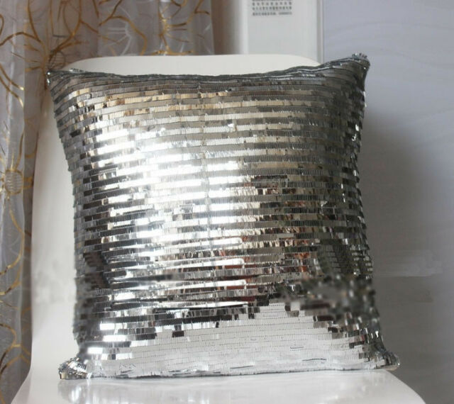 """Bling Gold Silver Shiny Glittering Sequins Pillow Case Sofa Cushion Cover 16"""""""